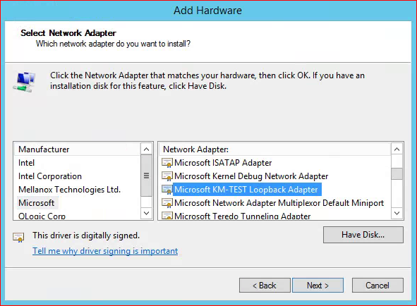 Add Loopback Adapter