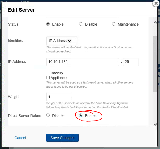 Enable Direct Server Return on the Barracuda ADC