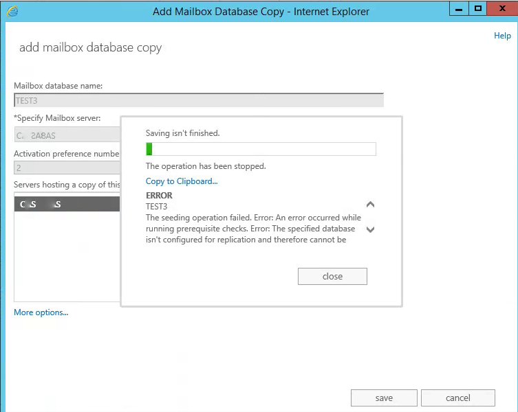 "Exchange 2013 DAG: Can't add a database copy – ""Seeding operation"